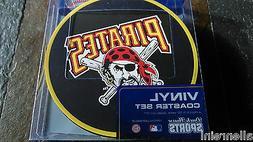 1 - 4 Pack Vinyl Drink Coasters - Pittsburgh Pirates - Box