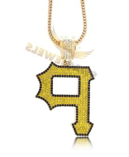 "Iced Out Gold WIZ KHALIFA PITTSBURGH PIRATES ""P"" Pendant Nec"
