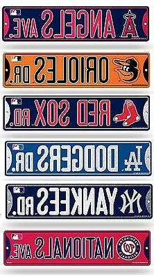 "MLB Baseball Bling Street Sign 3.75"" x 16""  Pick Team"