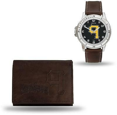mlb pittsburgh pirates brown faux leather watch