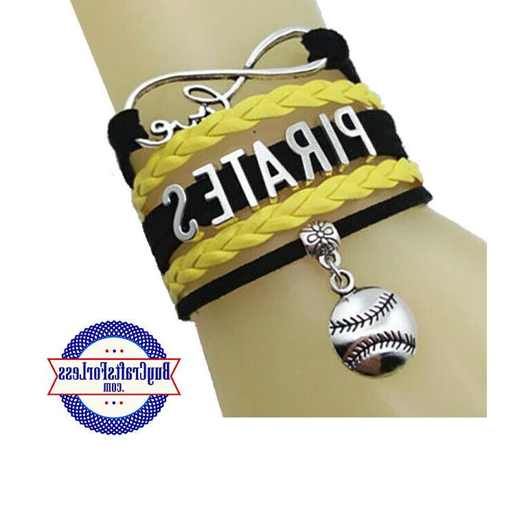 pittsburgh pirates leather woven bracelet free shipping