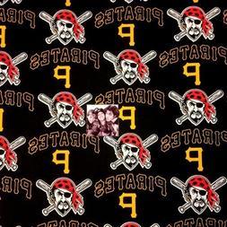 MLB Baseball Pittsburgh Pirates Logos Black 18x29 Cotton Fab