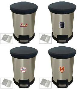 MLB Trash Can Stainless Steel Step-On Wastebasket 1 Gal Base