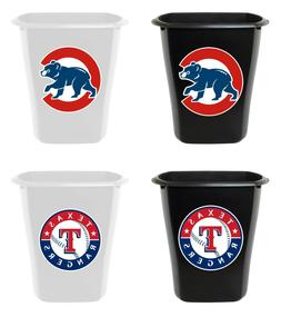 3 Gallon Trash Can Black or White Plastic MLB Baseball Team