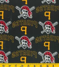 MLB PITTSBURGH PIRATES - LOGO Baseball 100% Cotton Fabric 1/