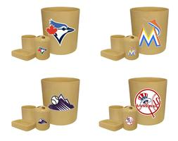 MLB Bathroom Set 4pc Beige Trash Can Toothbrush Cup Soap Dis