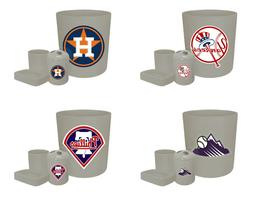MLB Logo Theme Gray 4 Pc Bathroom Set Trash Can Toothbrush H