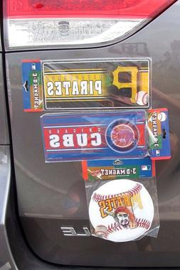 "MLB Pittsburgh Pirates, Chicago Cubs 3-D"" Magnet *PICK*, Car"