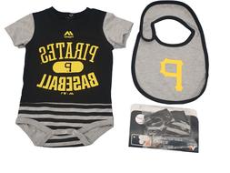MLB Pittsburgh Pirates Majestic Infant 3 Piece Creeper Bib &