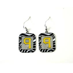 MLB Pittsburgh Pirates Zebra Stripe Style Dangle Earrings La