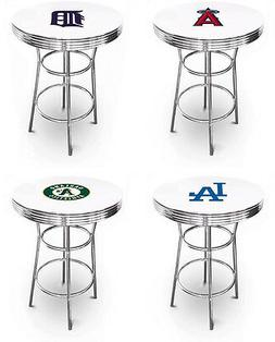 MLB TEAM LOGO THEMED WHITE TOP CHROME METAL FINISH BAR TABLE