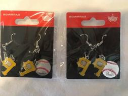 New Pittsburgh Pirates MLB Dangle Earrings 2 Pairs Silver Go