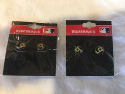 New Pittsburgh Pirates MLB Stud Earrings - 2 Pairs - Black &