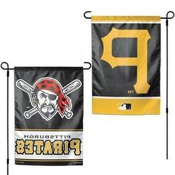 "PITTSBURGH PIRATES 2 SIDED GARDEN FLAG 12""X18"" YARD BANNER O"