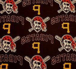 """Pittsburgh Pirates BTY Fabric Traditions 58"""" Wide Black MLB"""