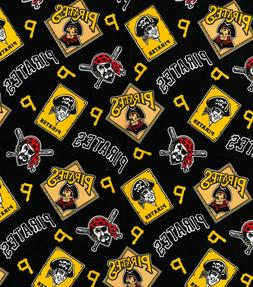 """PITTSBURGH PIRATES COTTON FABRIC FQ 18""""x22""""  - perfect for D"""