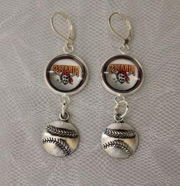 Pittsburgh Pirates Earrings w/Baseball Charm Upcycled from B