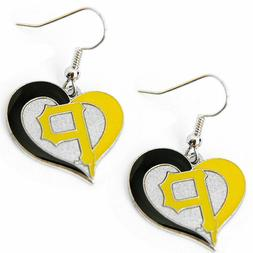 Pittsburgh Pirates MLB Silver Swirl Heart Dangle Earrings Am