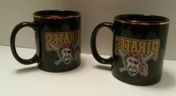 Pittsburgh Pirates Set of 2 Coffee Mugs Black with Gold Rim