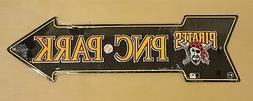 "Pittsburgh Pirates Sign Embossed Metal Arrow Decor 6"" x 20"""