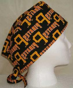 Surgical Scrub Hat Cap Made w Pittsburgh Pirates MLB Fabric